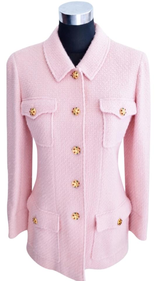 Chanel Pink Gripoix Jacket Cc Logo Buttons Boutique Runway Blazer Size 8  (M) 86% off retail