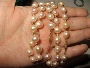 Pink and Gold 14k Pearl Jewelry Set