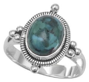 Other Oxidized Oval Reconstituted Turquoise Ring