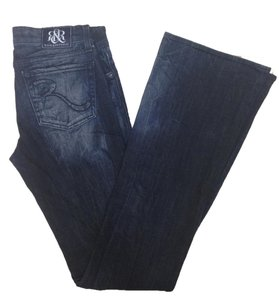 Rock & Republic & Distressed Extra Long Flare Leg Jeans-Dark Rinse