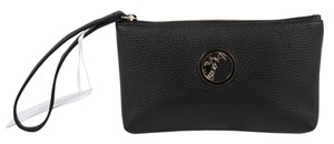 Versace Collection Versace Collection Pebbled Black Leather Beauty Pouch