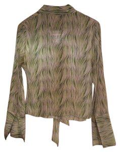 Nordstrom Business Billowing Wide Sleeves Tie Top Green and white print