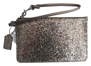 Coach Metallic Leather Glitter Wristlet in Gold