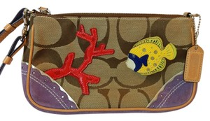 Coach Classic Suede Fish Coral Scallop Detail Brown, Purple, Yellow, Red Clutch