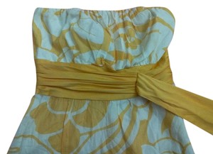 The Limited short dress Yellow White Floral Strapless on Tradesy