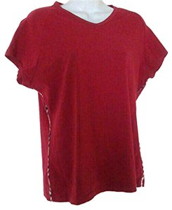 Burberry V-neck T Shirt Red
