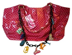 Betseyville Polka Dot Chain Chunky Charm Retro Satchel in Pink