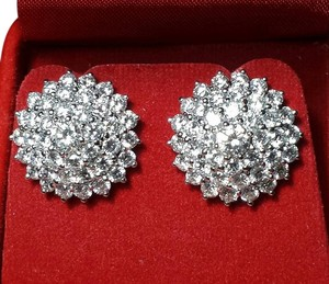 Other **SALE**5.18CT SPARKLY DIAMOND CLUSTER 21K GOLD EARRINGS