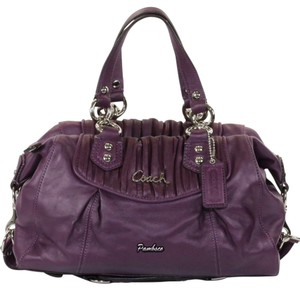 Coach Gathered Leather Satchel in Plum