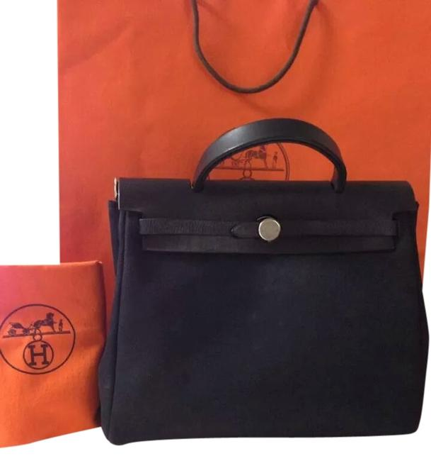 Item - Herbag 35cm Canvas and Leather 2-in-1 Black/Silver Canvas&leather Satchel