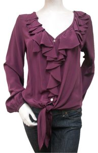 Fifteen Twenty Ruffled Silk Top Purple