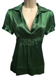 BCBGMAXAZRIA Silk Blouse Sexy Top Kelley green
