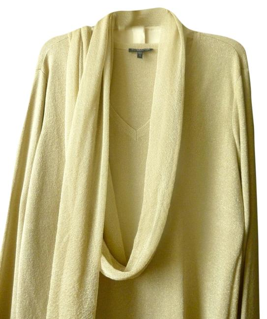 Item - Tan with Gold Thread & Cream Sweater and Crepe Palazzo Pant Suit Size 16 (XL, Plus 0x)