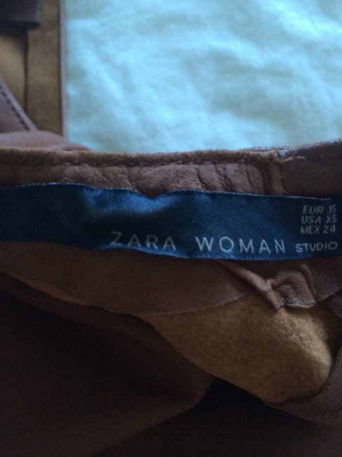 Zara short dress Caramel Leather Shift on Tradesy