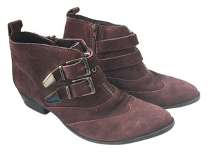 OFFICE London Suede Buckle Burgundy Boots