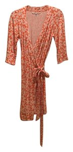 Diane von Furstenberg short dress Orange and White Wrap on Tradesy