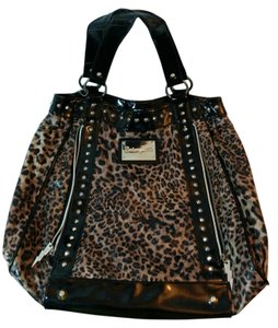 Betseyville Studded Zippers Satchel in Black Leopard
