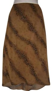 Express Animal Print Fully Lined Skirt Brown