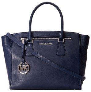 Michael Kors Sophie Leather Handbag Satchel in Navy