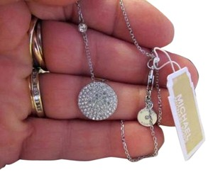 Michael Kors MICHAEL KORS Disc Pave Crystal with Chain Link Necklace With Box