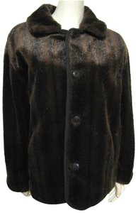Gallery Reversible Jacket Faux Striped Black Trench Vegan 6 8 Buttoned Fur Coat
