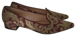 Bionda Castana Lace Red Boredeaux Loafers Gold Flats