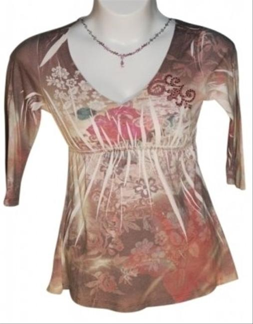 Yukiko Floral V Neck With Embellishments Length Sleeves Size Small Multicolor With Pinks Greens Tans Beige Yellow Tunic Style Top