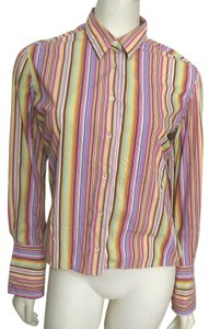 Robert Graham Shirt Rainbow Retro Women 4 Small S Flip Cuff Longsleeve Striped Flipcuffs Button Down Shirt multi color
