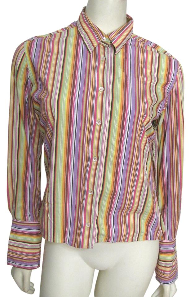 f4e2fa97e2d Robert Graham Shirt Rainbow Striped Flip Cuffs Xs Small Yellow Red Pink  Buttoned Long Sleeve Button ...