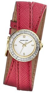 Michael Kors ON SALE-w/BONUS-Pink Mini Madison Crystal Studded Leather Wrap