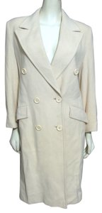 Fleurette Cashmere Women Long Jacket Small 6 8 P Ivory Doublebreasted Buttoned Creme Amicale S Pea Coat