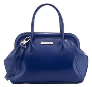Charles Jourdan Silvertone Hardware Satchel in Indigo Blue