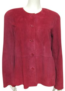 Eileen Fisher Genuine Real Suede red Leather Jacket