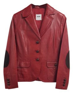 Moschino red and chocolates brown Leather Jacket