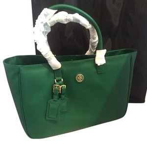 Tory Burch Roslyn Luggage Tote in emerald stone
