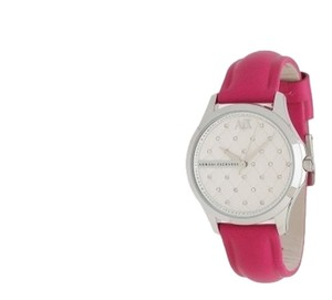 A|X Armani Exchange Crystal Quilted Bubblegum Pink Leather Strap Watch