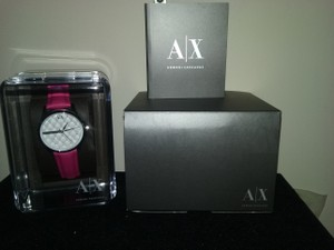 A|X Armani Exchange w/BONUS-Crystal Quilted Bubblegum Pink Leather Strap Watch