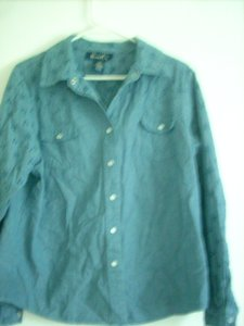Denim & Co. Western Button Down Shirt Blue