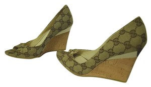 Gucci Heels Logo Gold Tone Accents Brown and Beige Wedges
