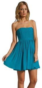 Alice + Olivia Pleated Strapless Silk Dress
