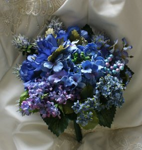 Beautiful In Blue Lifelike Wedding Bouquet