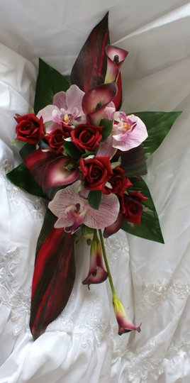 Contemporary Tropical Calla Lily And Orchid Silk Bridal Bouquet