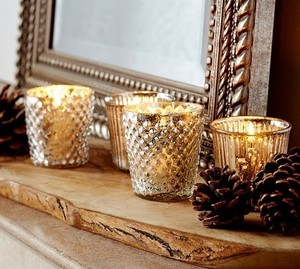 Pottery Barn Silver Mercury Glass 40 Votive/Candle