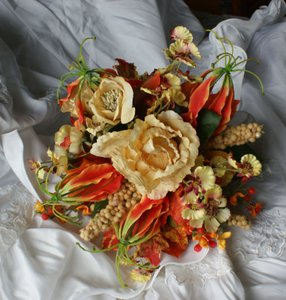 Bright Autumn Bridal Bridesmaid Bouquet In Silk