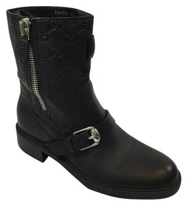 Gucci Leather Monogram Embossed Combat Black Boots