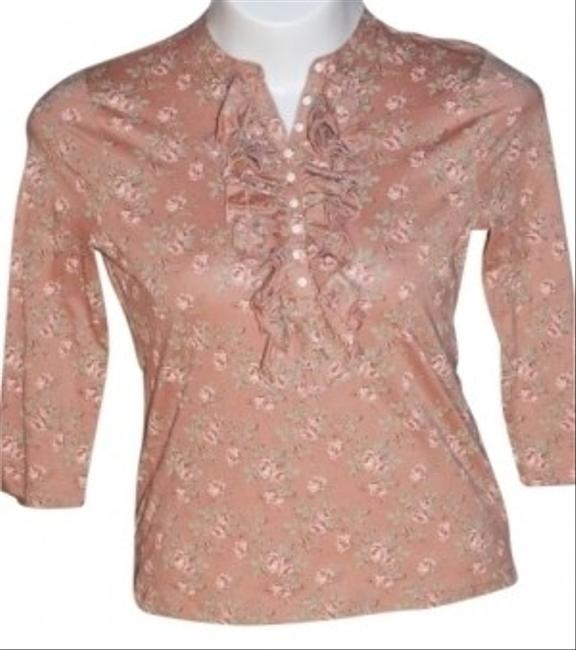 American Living Ruffled Size M Length Sleeves Tan/peach Color With Roses Stretchy Fabric Top Peach/Tan
