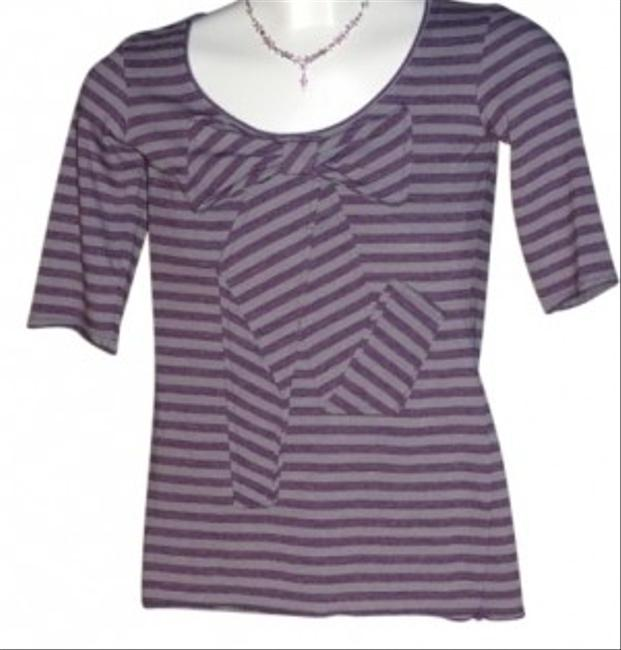 Charlotte Russe Grey With Plum Stripes Cute Bow Sewn In Front Size S T Shirt Grey/Plum