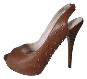 ZIGIny Peep Toe Studded Sandal Platform Party Dress Leather Women 10 M Brown Pumps