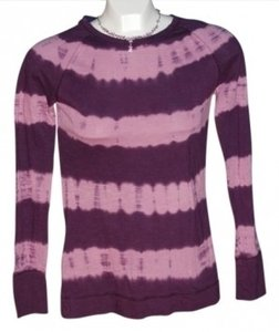 Mudd Long-sleeved Plum With Tie-dye Pink Stripes Size S T Shirt Plum/tie-dye
