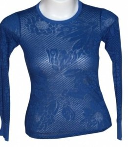 Realitee Clothing Realitee Long-sleeved Color With Pattern Throughout -- Almost Sheer Stretchy Fabric T Shirt Royal Blue